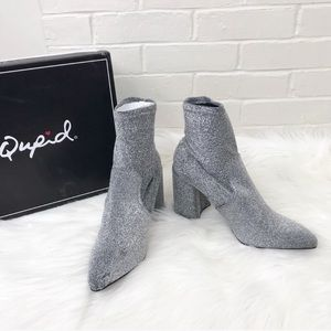 {Qupid} Silver Glitter Sock Ankle Booties